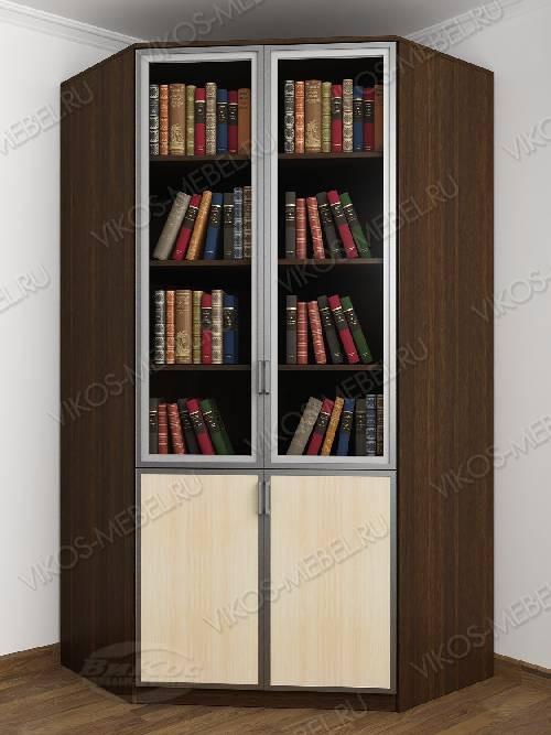 2-створчатый угловой шкаф угловой для книг цвета венге - молочный дуб