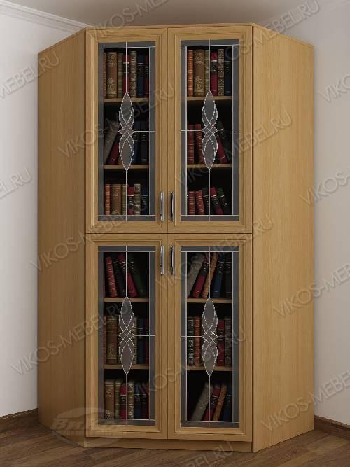 2-дверный угловой угловой шкаф с витражом для книг цвета бук