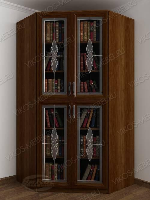 2-дверный угловой угловой шкаф c витражным стеклом для книг цвета яблоня