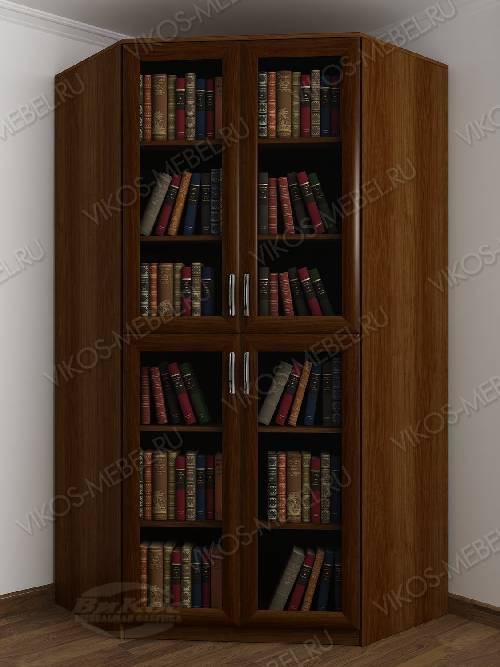2-дверный угловой угловой шкаф для книг цвета яблоня