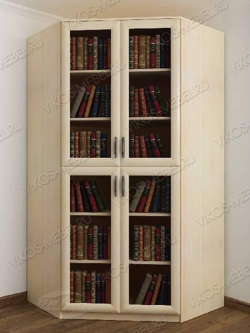 2-дверный угловой угловой шкаф для книг цвета молочный беленый дуб
