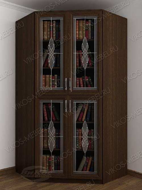 Витражный 2-дверный угловой угловой шкаф для книг цвета венге