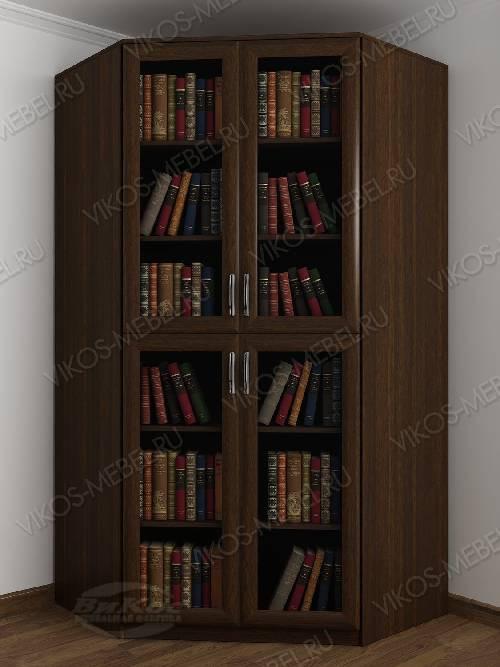 2-дверный угловой угловой шкаф для книг цвета венге