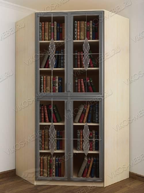 2-дверный угловой угловой шкаф c витражным стеклом для книг цвета беленый дуб - венге