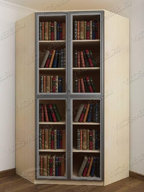 2-дверный угловой угловой шкаф для книг цвета беленый дуб - венге