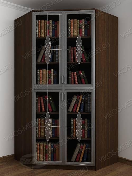 2-дверный угловой угловой шкаф с витражом для книг цвета венге - молочный дуб