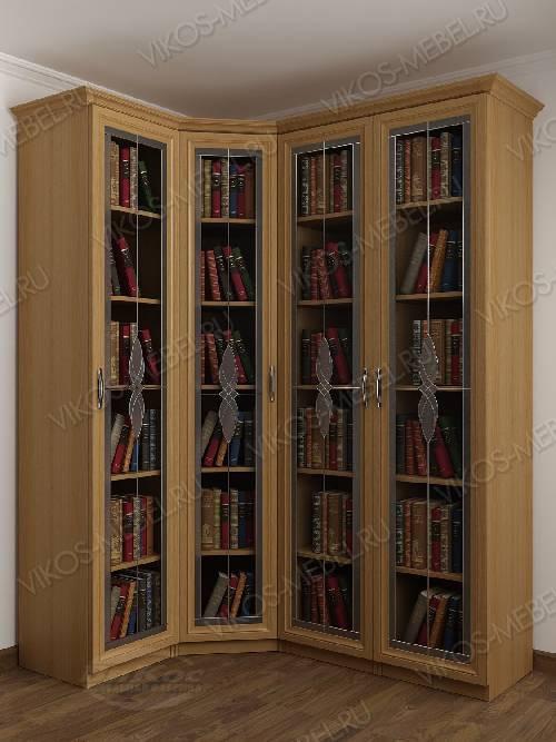 4-створчатый угловой шкаф угловой с витражом для книг цвета бук