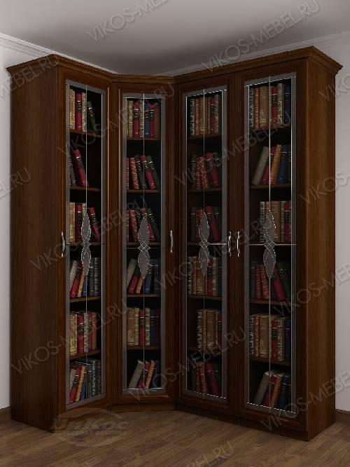 4-створчатый угловой шкаф угловой c витражным стеклом для книг цвета яблоня