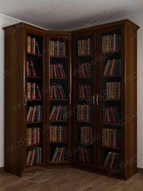 4-створчатый угловой шкаф угловой для книг цвета яблоня