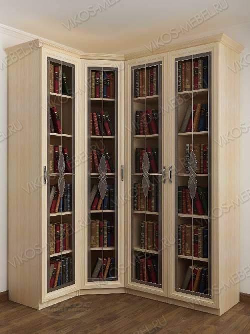 Витражный 4-створчатый угловой шкаф угловой для книг цвета молочный беленый дуб