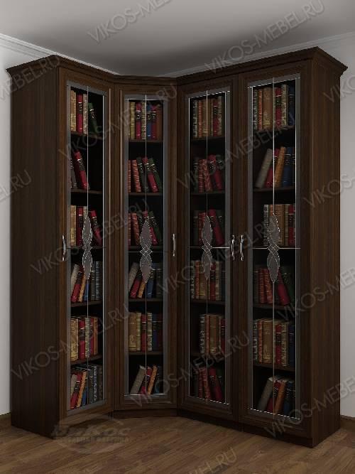 Витражный 4-створчатый угловой шкаф угловой для книг цвета венге