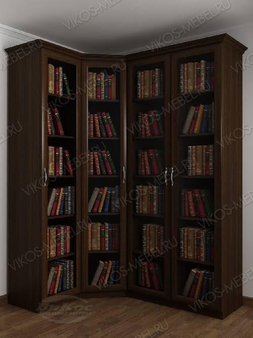 4-створчатый угловой шкаф угловой для книг цвета венге