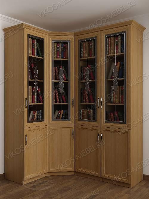 4-дверный угловой угловой шкаф c витражным стеклом для книг цвета бук