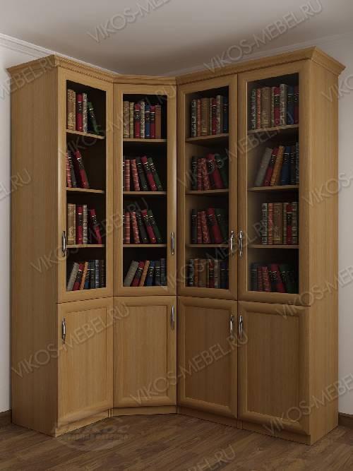 4-дверный угловой угловой шкаф для книг цвета бук
