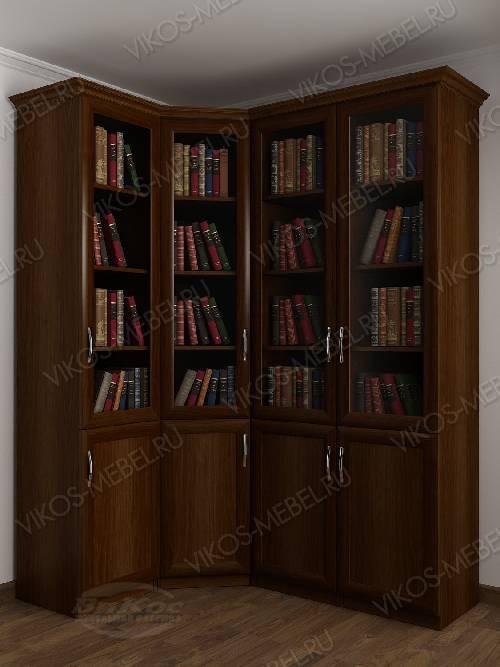 4-дверный угловой угловой шкаф для книг цвета яблоня