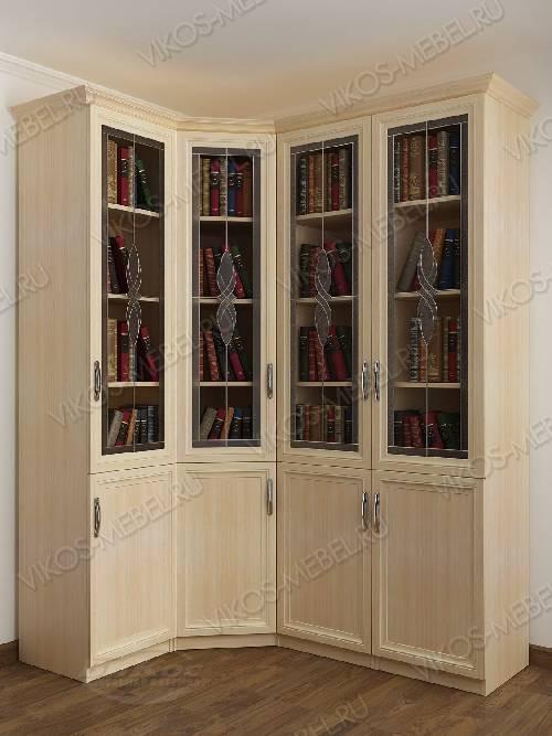 4-дверный угловой угловой шкаф с витражом для книг цвета молочный беленый дуб