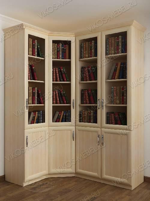 4-дверный угловой угловой шкаф для книг цвета молочный беленый дуб