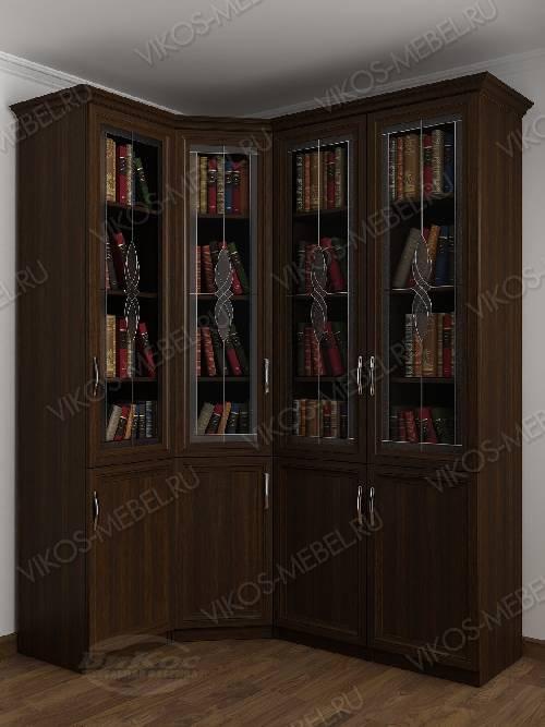 4-дверный угловой угловой шкаф с витражом для книг цвета венге