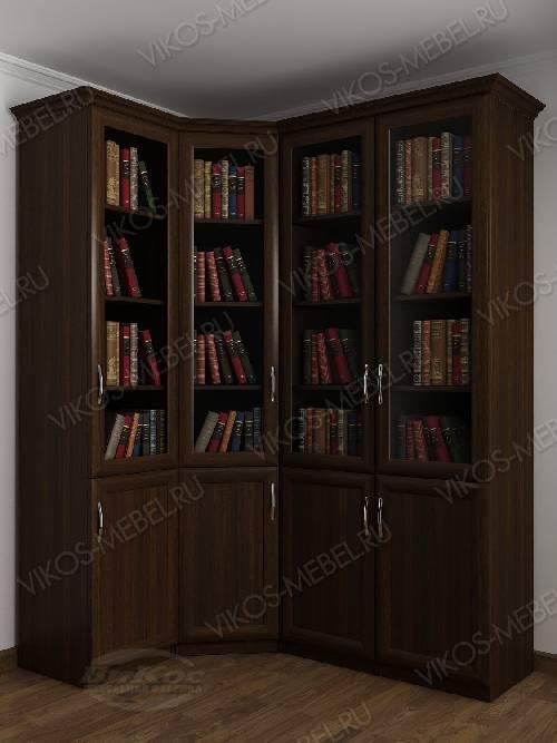 4-дверный угловой угловой шкаф для книг цвета венге