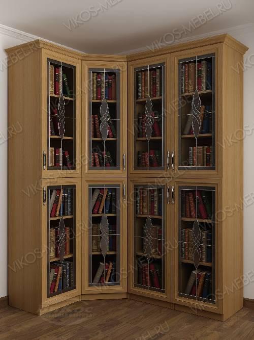 Витражный четырехстворчатый угловой шкаф угловой для книг цвета бук