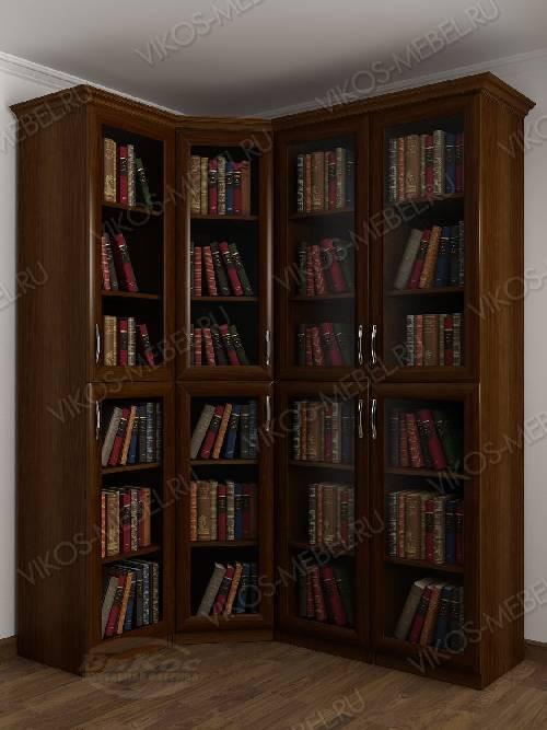 Четырехстворчатый угловой шкаф угловой для книг цвета яблоня