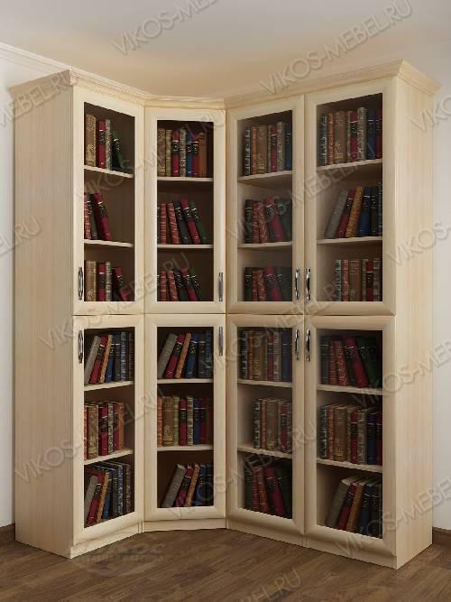 Четырехстворчатый угловой шкаф угловой для книг цвета молочный беленый дуб
