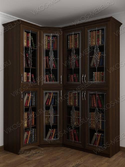 Четырехстворчатый угловой шкаф угловой c витражным стеклом для книг цвета венге