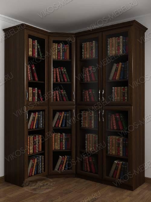 Четырехстворчатый угловой шкаф угловой для книг цвета венге