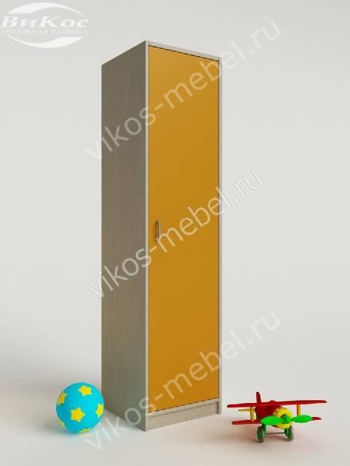 Узкий детский распашной шкаф для одежды желтого цвета