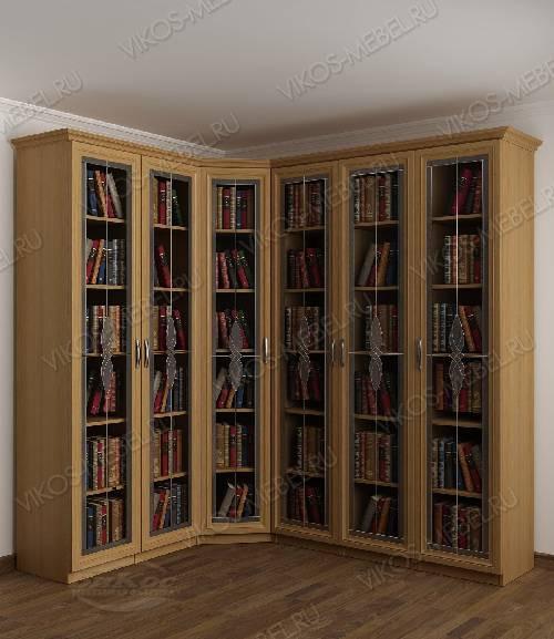 Угловой угловой шкаф с витражом для книг цвета бук