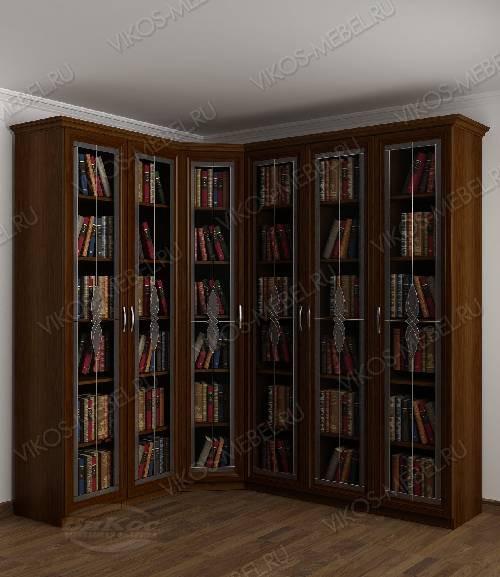 Угловой угловой шкаф c витражным стеклом для книг цвета яблоня