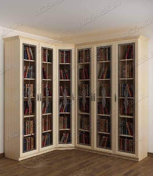 Угловой витражный угловой шкаф для книг цвета молочный беленый дуб