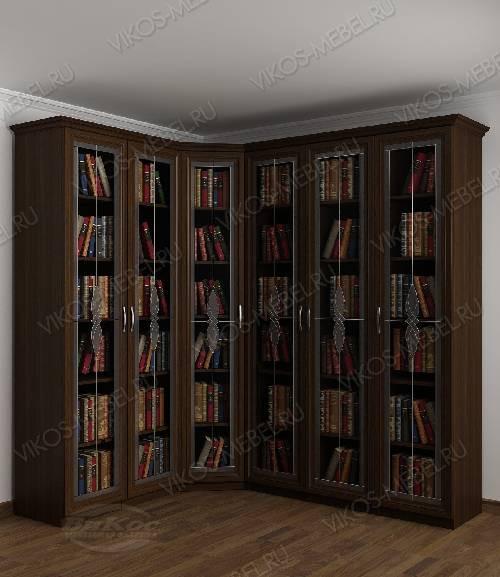 Угловой витражный угловой шкаф для книг цвета венге