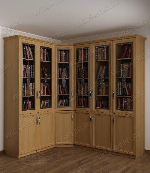 Угловой шкаф угловой c витражным стеклом для книг цвета бук