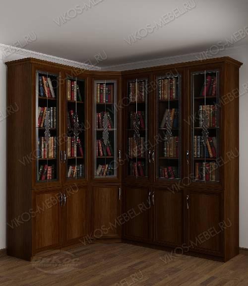 Угловой витражный шкаф угловой для книг цвета яблоня