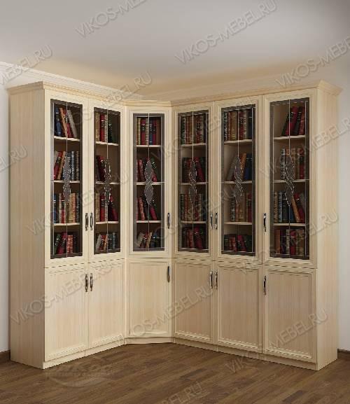 Угловой шкаф угловой с витражом для книг цвета молочный беленый дуб