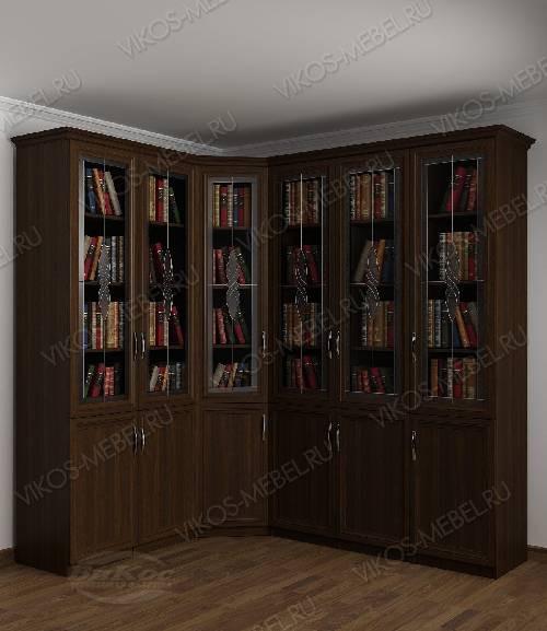 Угловой шкаф угловой с витражом для книг цвета венге