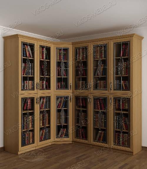 Угловой витражный угловой шкаф для книг цвета бук