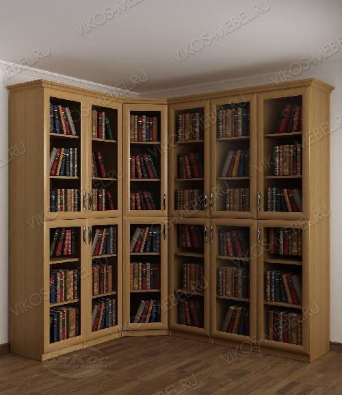 Угловой угловой шкаф для книг цвета бук