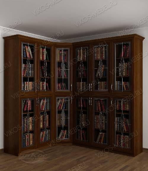 Угловой угловой шкаф с витражом для книг цвета яблоня