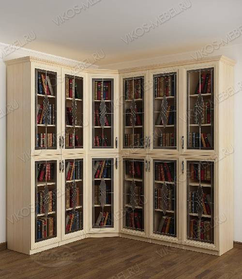 Угловой угловой шкаф c витражным стеклом для книг цвета молочный беленый дуб