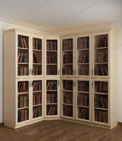 Угловой угловой шкаф для книг цвета молочный беленый дуб
