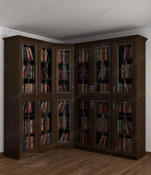 Угловой угловой шкаф c витражным стеклом для книг цвета венге