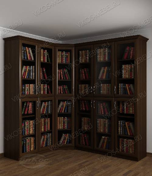 Угловой угловой шкаф для книг цвета венге