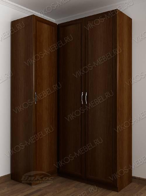 3-створчатый распашной угловой шкаф в спальню цвета яблоня