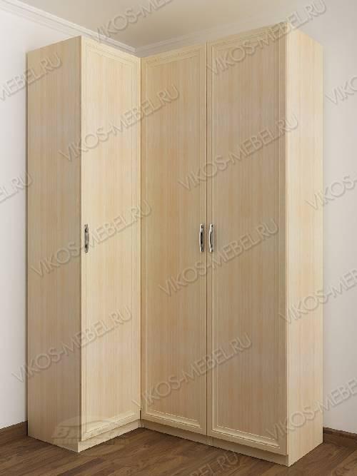 3-створчатый распашной угловой шкаф в спальню цвета молочный беленый дуб