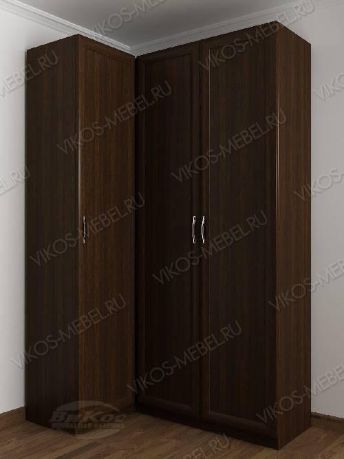 3-створчатый распашной угловой шкаф в спальню цвета венге