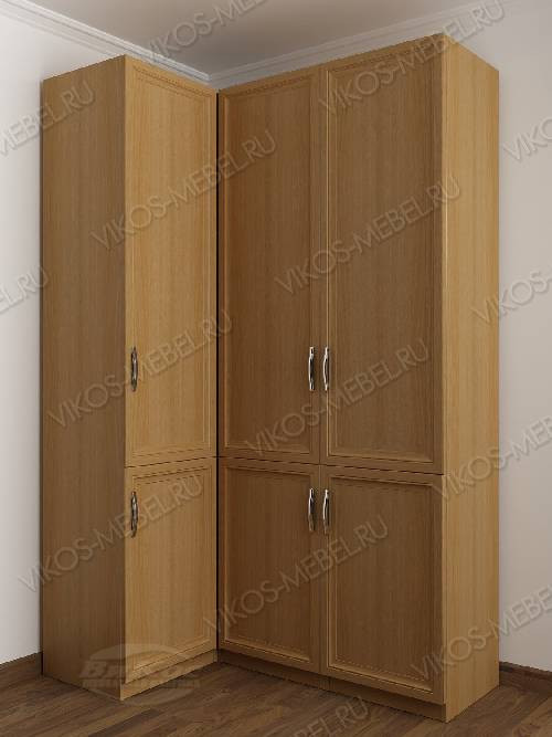 3-дверный шкаф угловой с распашными дверями для спальни цвета бук