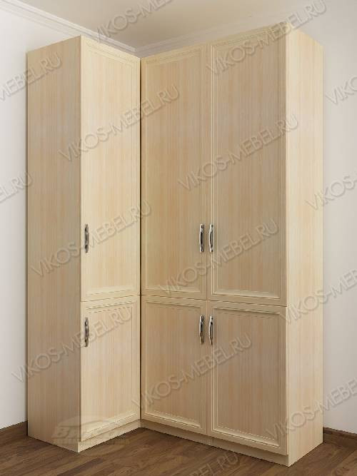 3-дверный шкаф угловой с распашными дверями для спальни цвета молочный беленый дуб