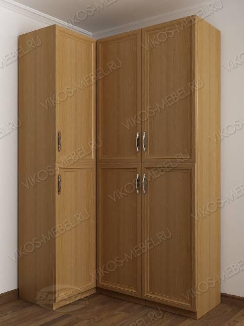 Трехстворчатый распашной угловой шкаф в спальню цвета бук